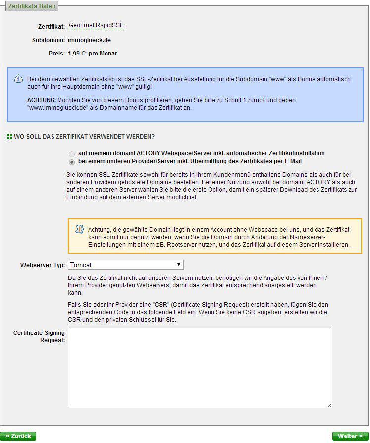 Absicherung des Systems mit einem gekauften (und vertrauten) SSL ...